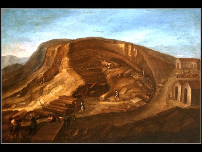 """Fig.1   La cava di """"Giallo di Castronovo"""" al tempo di G.B. Vaccarini XVIII° sec."""